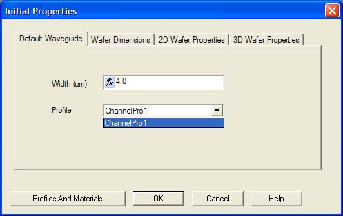 BPM - Figure 4 Waveguide Properties tab