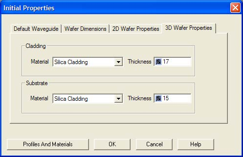 Optical BPM - Initial Properties dialog box—3D Wafer Properties tab