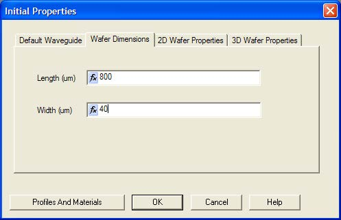 Optical BPM - Initial Properties dialog box—Wafer Dimensions tab