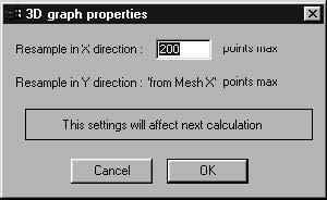 Optical Grating - 3D Graph Properties dialog