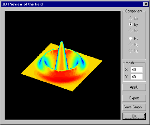 Optical Grating - 3D profile of the field