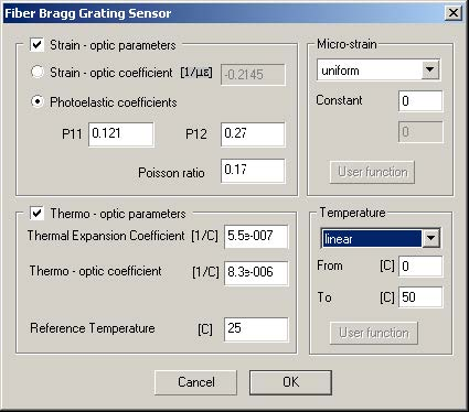 Optical Grating - Fiber Bragg Gratings Sensor dialog box