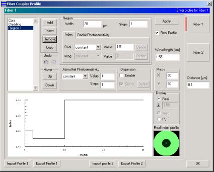 Optical Grating - Fiber Coupler Profile dialog box