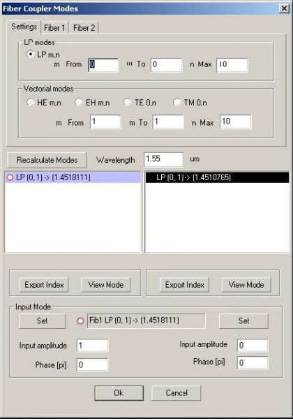 Optical Grating - Fiber Coupler modes dialog box