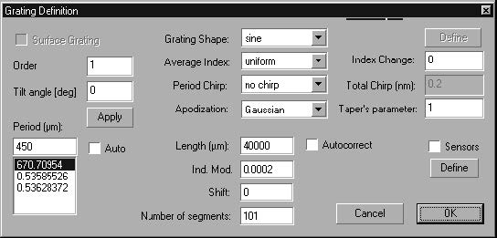 Optical Grating - Grating Manager dialog box