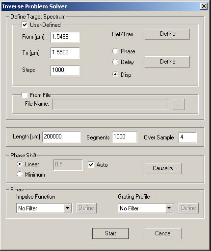 Optical Grating - Inverse Problem Solver dialog box