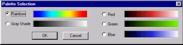Optical Grating - Palette Selection dialog box