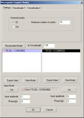 Optical Grating - Waveguide Coupler Modes dialog box