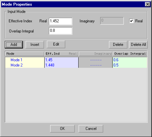 Optical Grating - mode properties dialog box