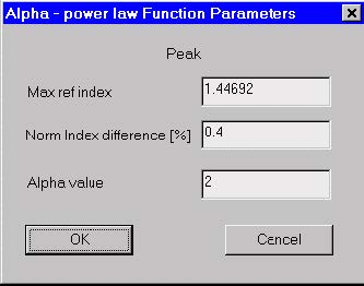 Optical Fiber - Alpha Power Law Function Parameters dialog box