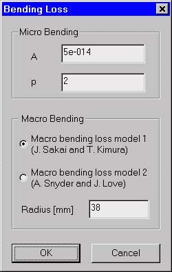 Optical Fiber - Bending Loss dialog box