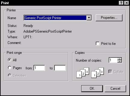 Optical Fiber - Figure 10 Print dialog box