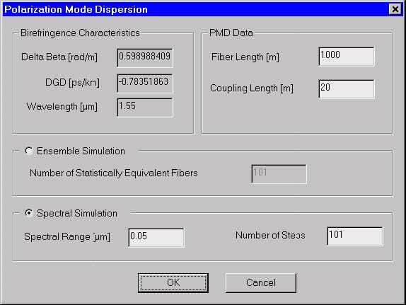 Optical Fiber - Polarization Mode Dispersion dialog box