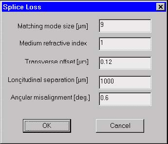 Optical Fiber - Splice Loss dialog box
