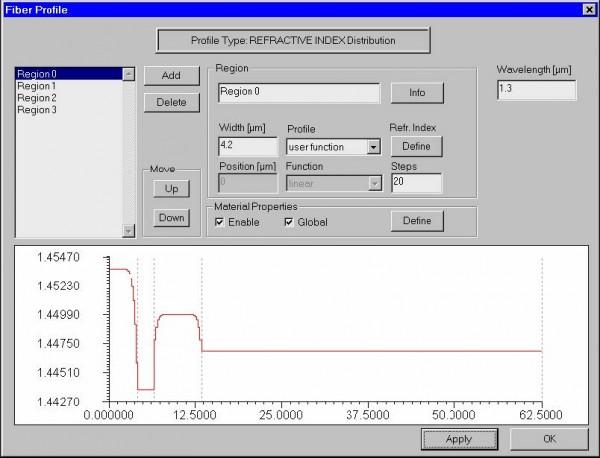 Optical Fiber - fiber profile dialog